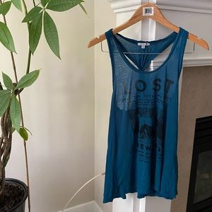 TALULA Blue Graphic Knot Low Armhole Tank Top
